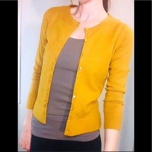 Mustard Yellow Merino Wool Button Up Cardigan